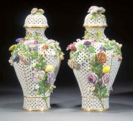 A pair of Meissen baluster ret