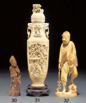A Chinese ivory vase 19/20th C