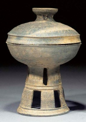A Han grey pottery vessel and