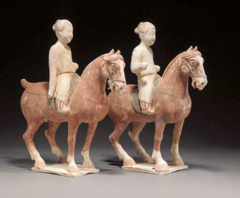 A pair of Tang pottery horses