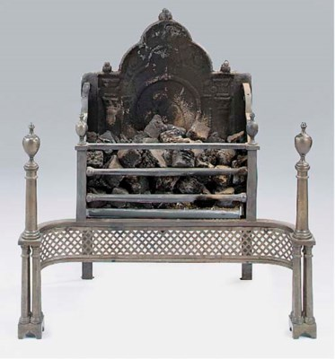 A steel and cast iron firegrat