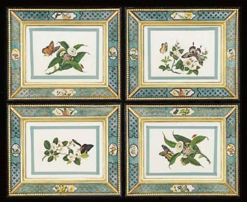 A set of four Oriental paintin
