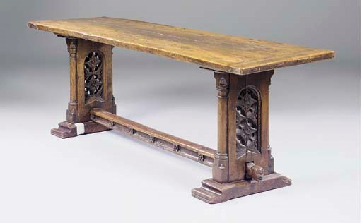 An oak refectory table, 19th c