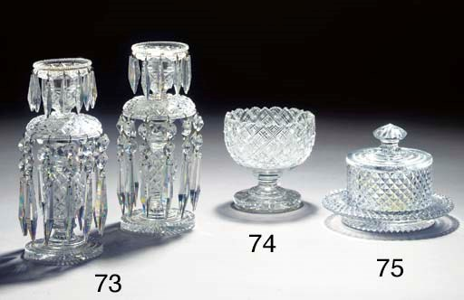 A pair of cut-glass lustres