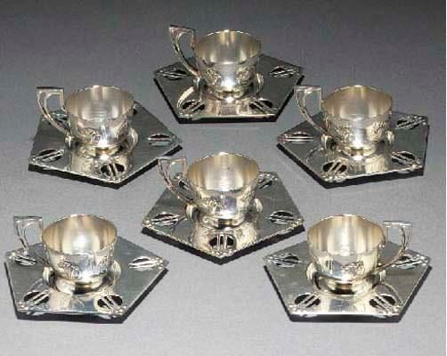 Six WMF silvered metal Turkish