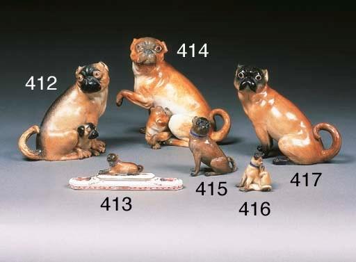 A Meissen model of a pug dog