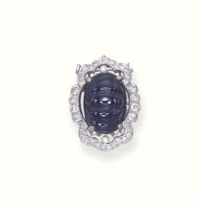 A SAPPHIRE AND DIAMOND CLASP