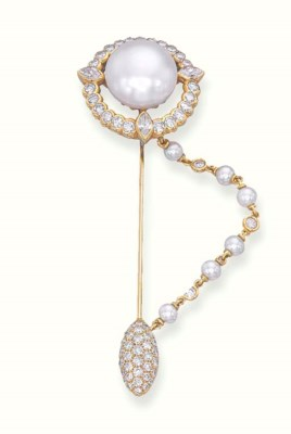 A CULTURED PEARL AND DIAMOND J