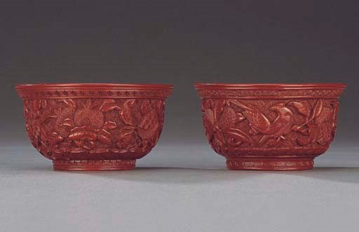 TWO MING CARVED CINNABAR LACQU