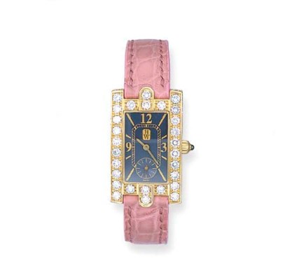 A LADY'S 18K PINK GOLD AND DIA