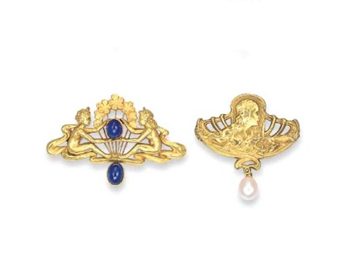 TWO ART NOUVEAU GOLD AND MULTI