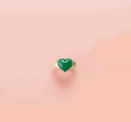 A HEART-SHAPED JADEITE AND DIA