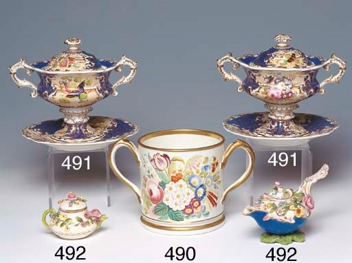 A STAFFORDSHIRE TWIN-HANDLED C