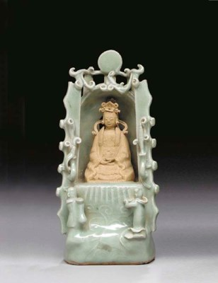 A Celadon and Biscuit Shrine o