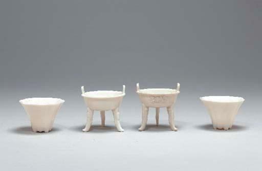Four Small Blanc-de-Chine Vess