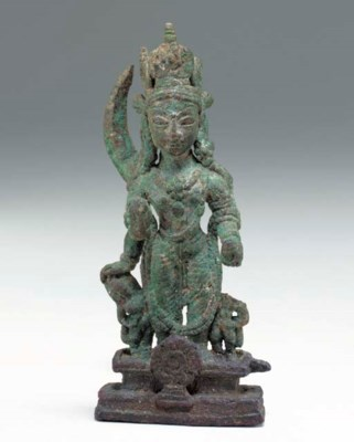 A bronze figure of Vishnu Vasu
