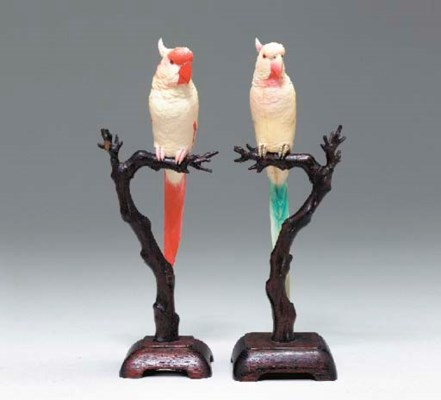 **An Ivory Model of Cockatoos,