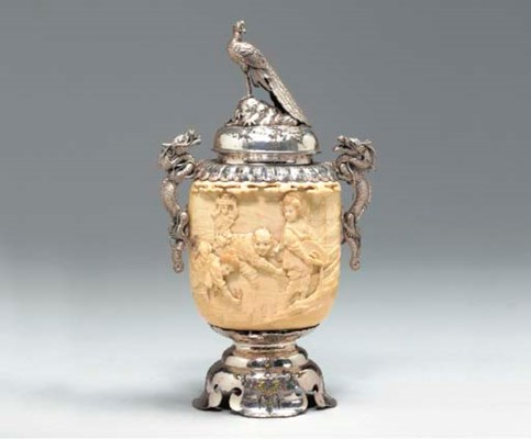 **A Silver-Mounted Ivory Vase,