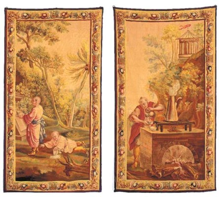 A PAIR OF AUBUSSON PORTIERES,