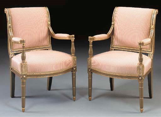 A PAIR OF DIRECTOIRE PARCEL-GI