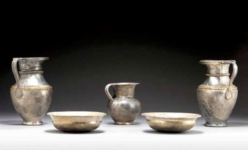 FIVE GREEK SILVER VESSELS