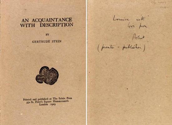 STEIN, Gertrude. An Acquantanc