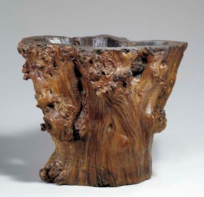 A LARGE ROOTWOOD SCROLL POT, B