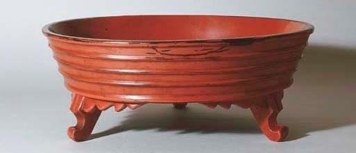 A Negoro Footed Circular Bowl