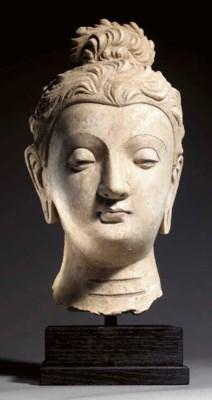 A Large Stucco Head of Buddha