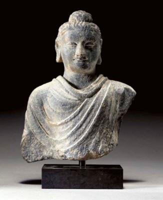 A Gray Schist Bust of Buddha