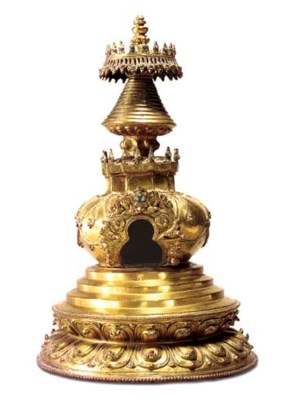 A Gilt Bronze Stupa