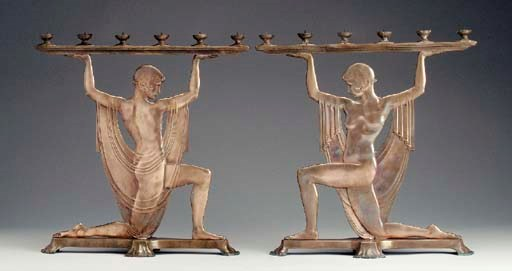 A PAIR OF 'ATLISA' BRONZE CAND
