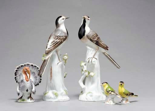 FIVE MEISSEN MODELS OF BIRDS,