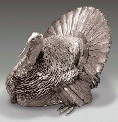 A SILVER TURKEY TABLE ORNAMENT
