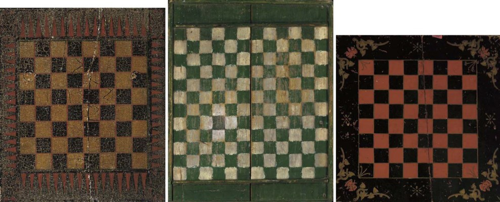 THREE PAINTED WOODEN GAMEBOARD