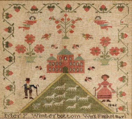 A SILK AND WOOL ON LINEN NEEDL