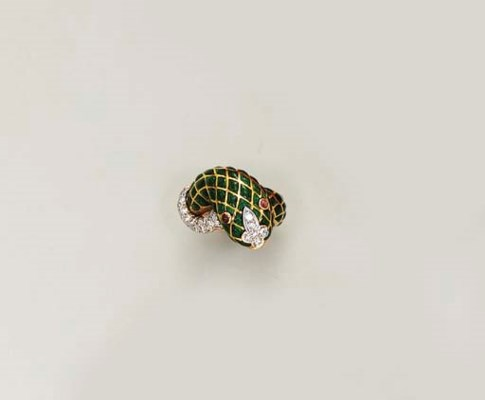 AN ENAMEL AND DIAMOND RING, BY