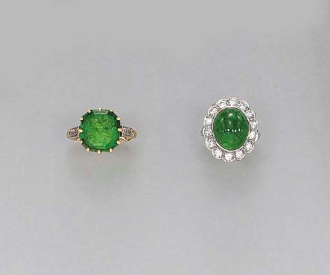 TWO EMERALD AND DIAMOND RINGS