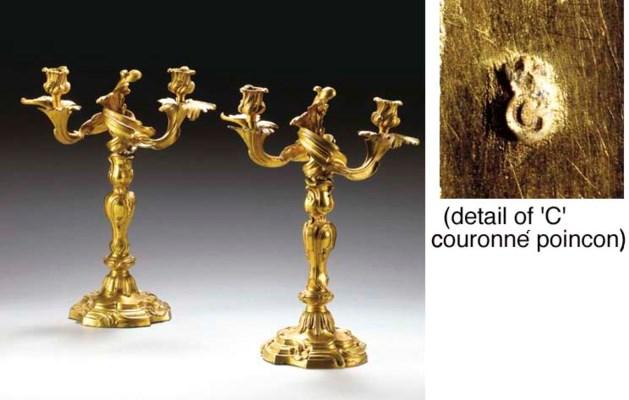 A PAIR OF LOUIS XV ORMOLU TWO-