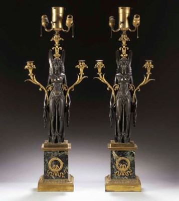 A PAIR OF EMPIRE ORMOLU, PATIN