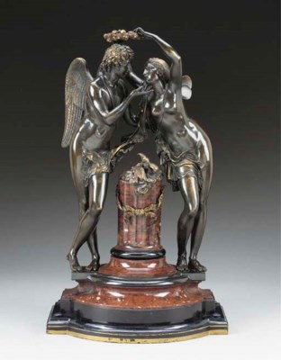 A Napoleon III bronze and marb
