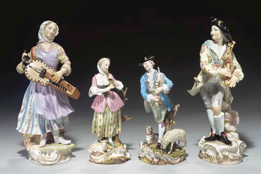 TWO PAIRS OF MEISSEN FIGURES O