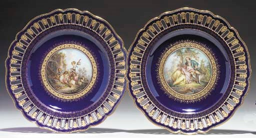 TWO MEISSEN RETICULATED COBALT