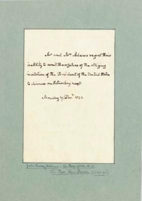 ADAMS, John Quincy. Autograph