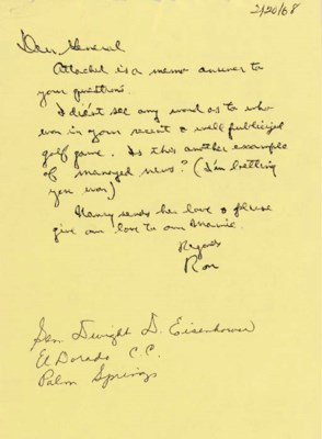 REAGAN, Ronald. Autograph draf