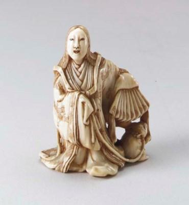Ten Ivory Netsuke, two Wood Ne