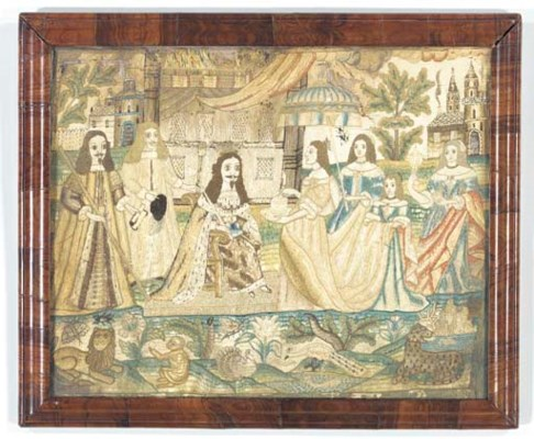 A CHARLES II SILK AND WOOL EMB