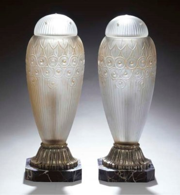 A PAIR OF FROSTED GLASS COVERE