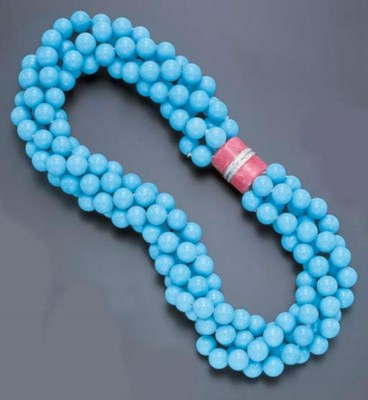 A FOUR-STRAND TURQUOISE, RHODO