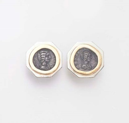 A PAIR OF COIN AND GOLD EAR CL